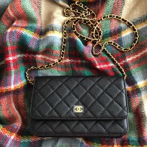 Chanel WOC caviar with gold hardware
